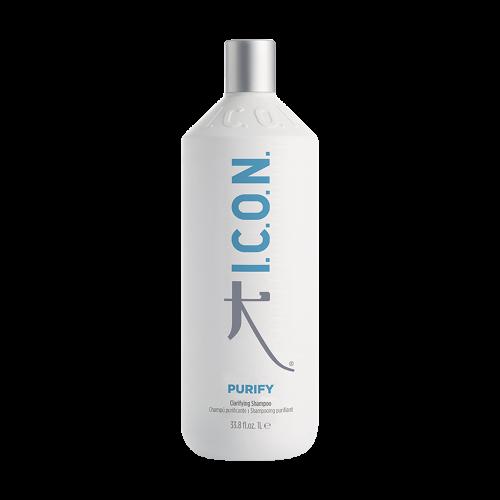 Purify I.C.O.N. Products es un champú purificante para la limpieza profunda del cabello. Elimina la acumulación de minerales, restos de agua dura y cloro.